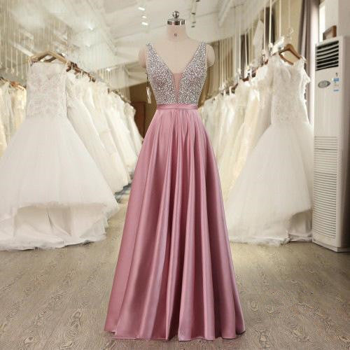 Pink Satin with Beaded V-neckline Long Party Dress, Gorgeous Formal Gowns 2019