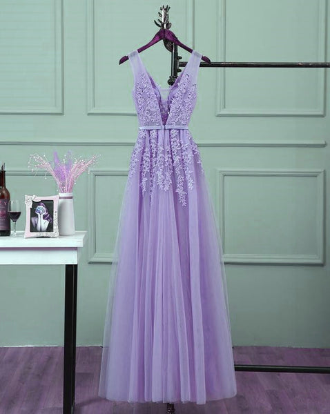 Beautiful Light Purple Tulle Long Party Gown, A-line V-neckline Prom Dress