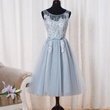 Lovely Light Blue Tulle Homecoming Dress, Cute Tea Length Party Dress