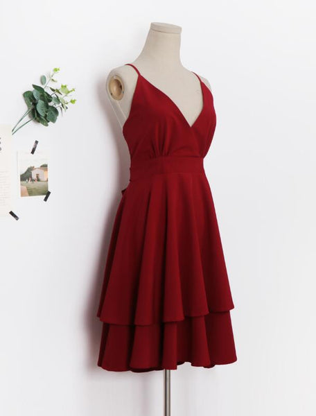Beautiful Dark Red V-neckline Chiffon Layers Women Dresses, Fashion Women Dresses