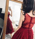Charming Wine Red Tea Length Tulle Homecoming Dress, Lace Party Dress