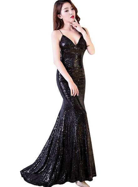 Black Mermaid Backless Long Sequins Prom Dress, Sexy Evening Gown