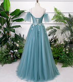 Beautiful Green Tulle Off Shoulder Party Dress, A-line Prom Dress with Flowers