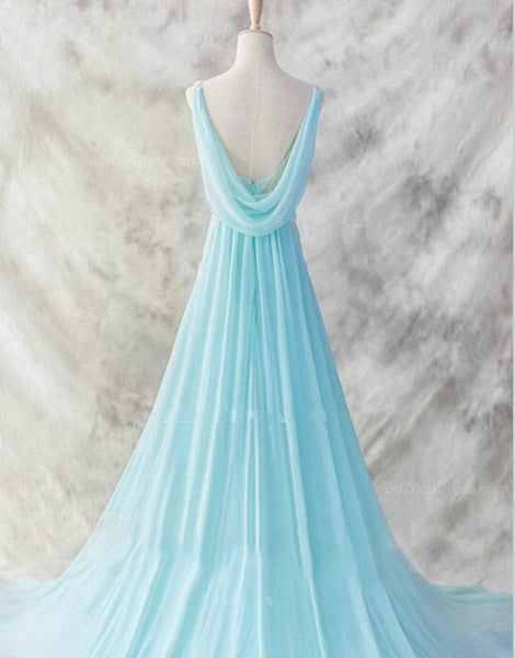 Charming Blue Gorgeous V-neckline Long Party Gowns, Elegant Prom Dresses, Blue Evening Dresses