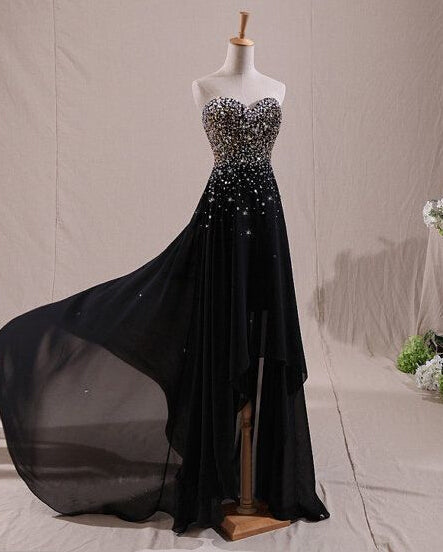 Beautiful Black Beaded High Low Prom Dress 2018, Black Formal Dress, Lovely Gowns