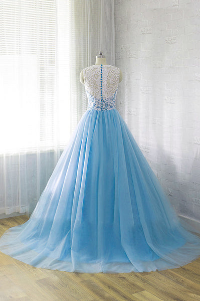 Blue Tulle Long Lace Prom Dress, Charming Ball Gown Party Gowns, Prom Dress 2019