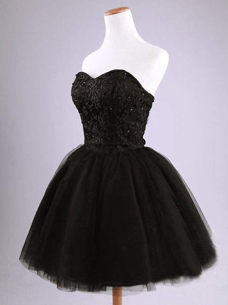 Little Black Tulle Homecoming Dress, Sweetheart Party Dress, Cute Teen Formal Dress