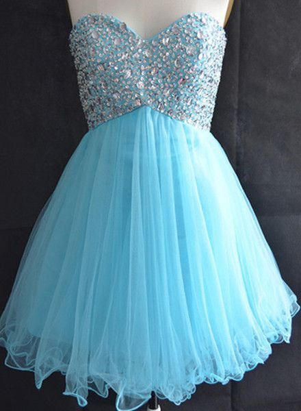 Cute Tulle Sweetheart Beaded Short Party Dress, Lace-up Junior Prom Dress, Blue Homecoming Dress