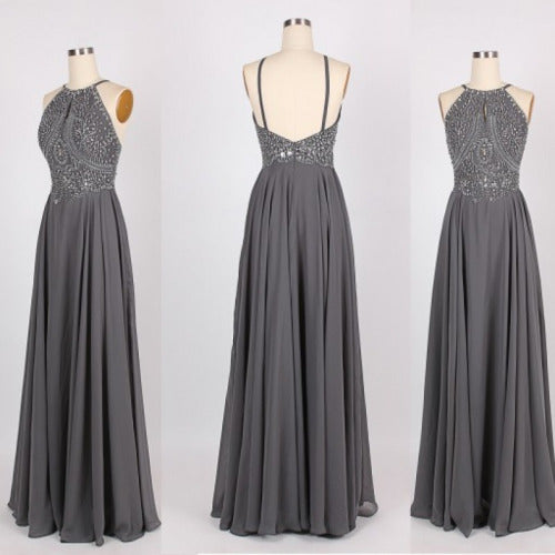 Grey Beaded Straps Long Prom Dress 2018, Hot Style Sparkle Formal Dresses, Grey Chiffon Gown