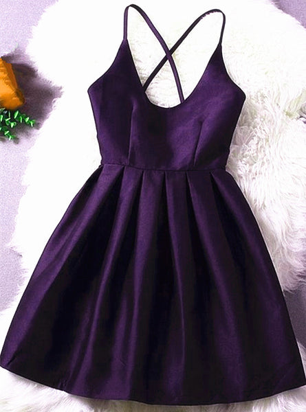 Beautiful Dark Purple Satin Short Homecoming Dress, Cute Party Dress