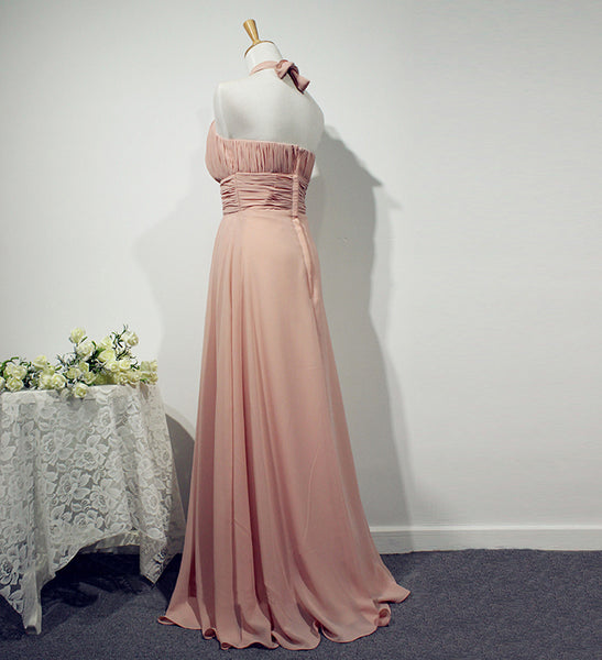 Beautiful Pink Halter Chiffon Bridesmaid Dress, Long Wedding Party Dresses
