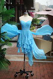 Blue High Low Beaded Lovely Homecoming Dresses, Blue Short Prom Dresses, Party Dresses