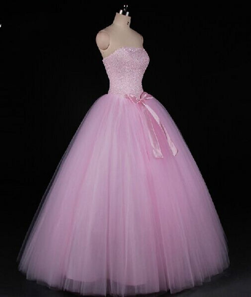 Pink Beaded Gorgeous Long Sweet 16 Dresses, New Style Formal Dresses