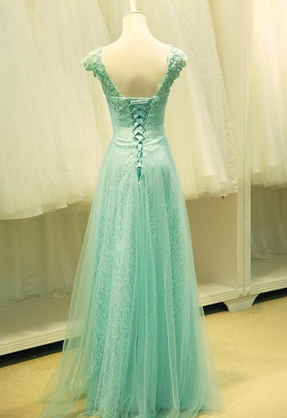 Mint Green Lace and Tulle A-line Junior Party Dress, Formal Gown, Prom Dress 2019