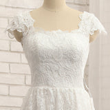 Beautiful White Lace Cap Sleeves Tea Length Party Dress, White Formal Dress