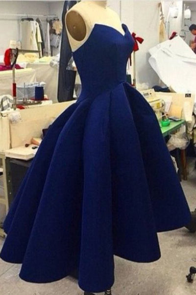 Navy Blue Satin High Low Party Dress, Women Formal Dress, High Low Formal Dress 2018