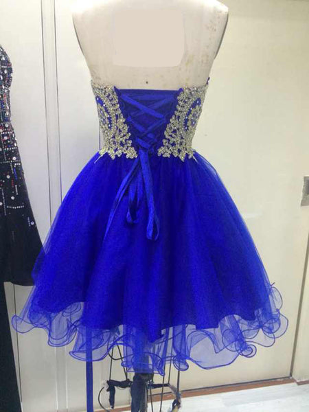 Royal Blue Tulle with Gold Applique, Short Prom Dress, Blue Homecoming Dresses