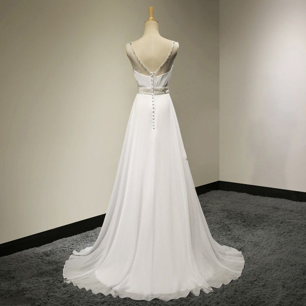 White Chiffon Simple Beaded Round Neckline Long Prom Dress, White Formal Dress