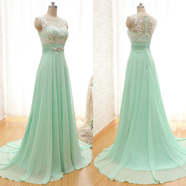 Mint Green Beautiful Round Neckline A-line Long Prom Dress, Prom Gowns 2019