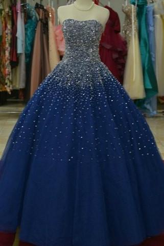 Beautiful Navy Blue Sparkle Long Formal Gown 2019, Handmade Beaded Party Gowns