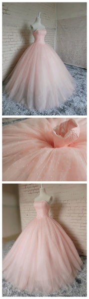 Pink Tulle with Beaded Lovely Formal Gown, Charming Pink Sweet 16 Gowns, Evening Gowns