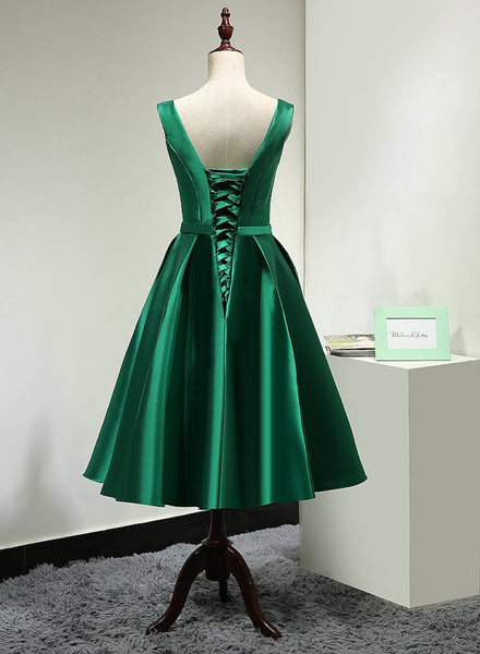 Lovely Dark Green V Neck Satin Bridesmaid Dress , Short Prom Dresses,