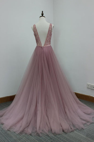 Pretty Pink Tulle V-neckline Beaded Prom Dresses 2018, Sparkle Formal Dresses, Gorgeous Party Dresses
