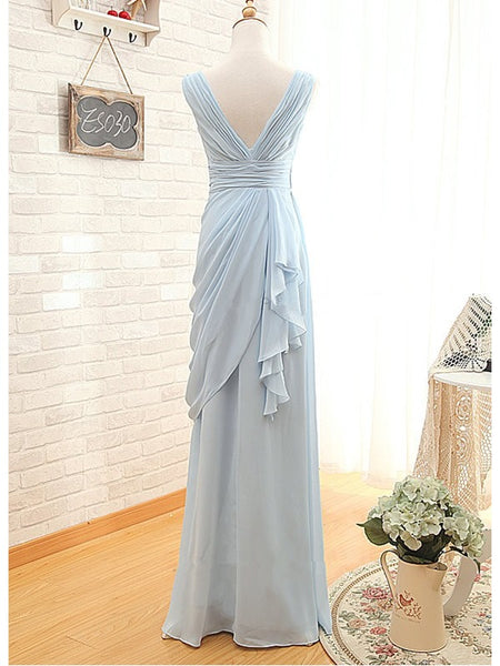 Beautiful Light Blue Bridesmaid Dresses, Chiffon Wedding Party Dresses, Prom Dresses 2019