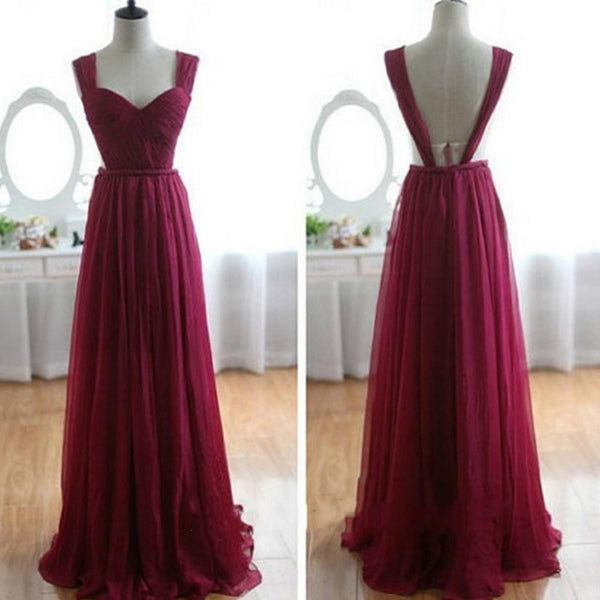 Charming Burgundy Chiffon Long Formal Dress,Pretty Party Dress, Formal Dress 2018