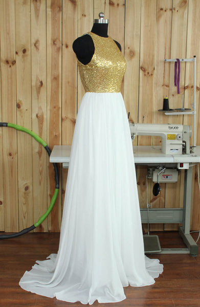 Sequins and White Chiffon Bridesmaid Dresses, Long Bridesmaid Dresses, Sequins Formal Dress