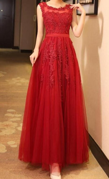 Red Tulle Round Neckline Lace Applique Long Formal Dress, Red Evening Gowns 2019