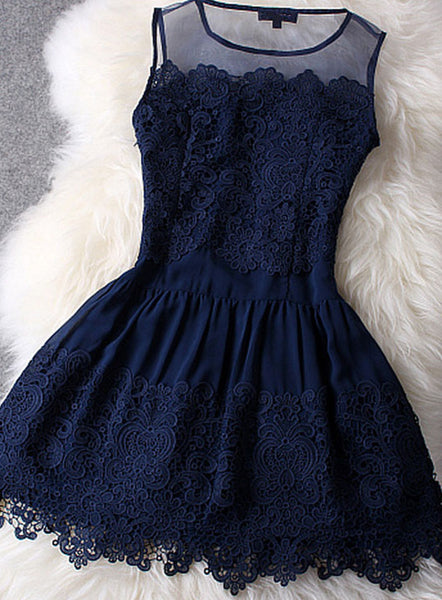 Gorgeous Navy Blue Lace Dresses, Hollow Out Homecoming Dresses for Teen