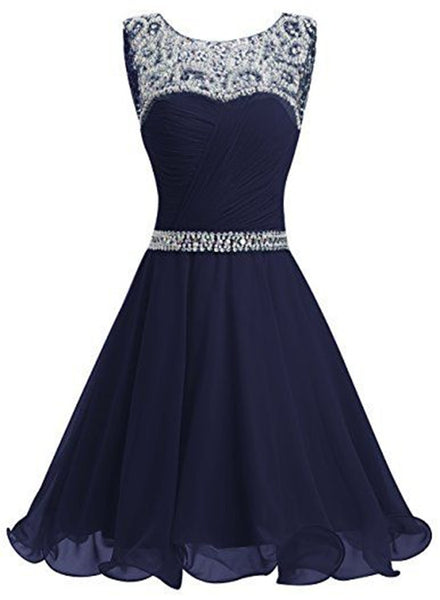 Beautiful Navy Blue Chiffon and Sequins Knee Length Formal Dress, Blue Homecoming Dress 2019