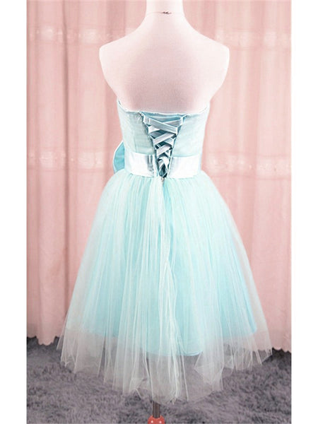 Adorable Light Blue Tulle Formal Dress with Bow, Teen Party Dress