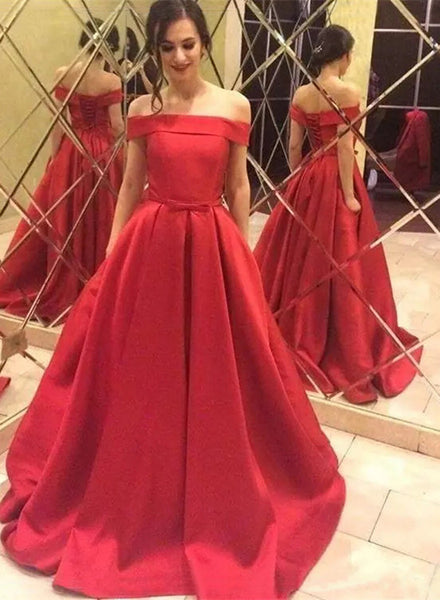 Red Satin Prom Dresses, Long Party Dresses, Prom Dress 2018