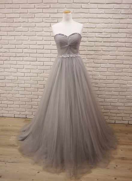 Grey Sweetheart Simple Pretty Tulle Gown, Beaded Long Ball Gown, Junior Prom Dress