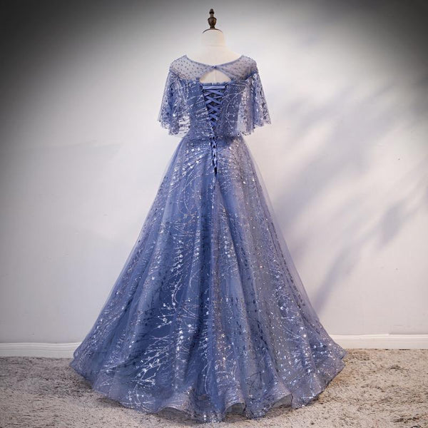 Blue Elegant A-line Long Prom Dress, Blue Evening Gown Graduation Dress