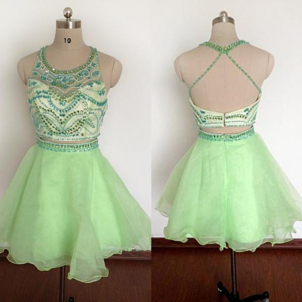 Green Organza Beaded Two Piece Homecoming Dresses, Cute Halter Prom Dresses