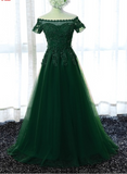Beautiful Dark Green Short Sleeves Floor Length Party Dress 2019, Prom Dress 2019