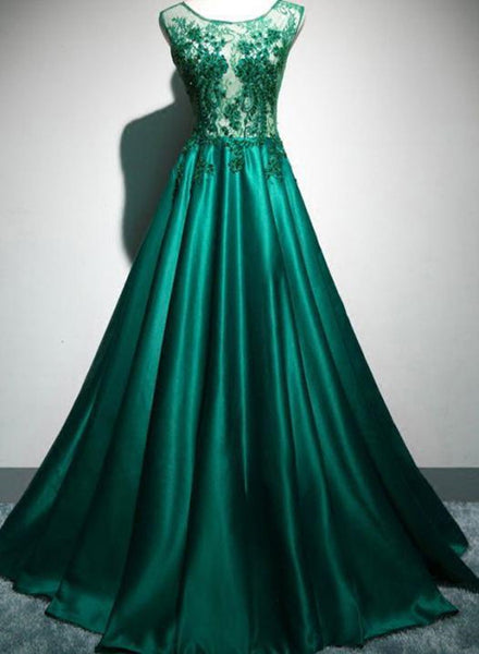 Green Satin Elegant with Lace Top Long Evening Party Dress, Green Prom Dress 2019