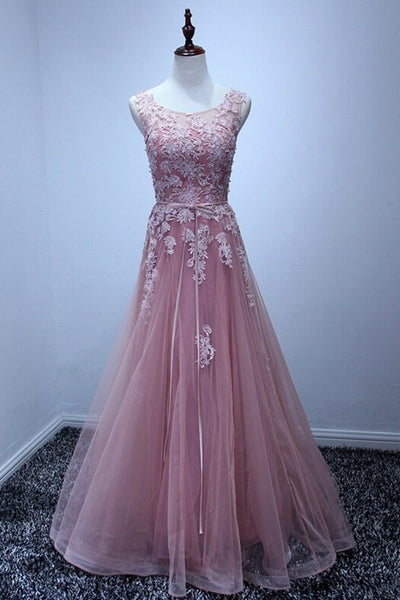 Pink Beautiful A-ling Floor Length Party Dress, Charming Pink Bridesmaid Dresses