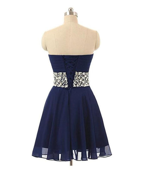 Lovely Chiffon Beaded Blue Homecoming Dress, Short Prom Dress 2020