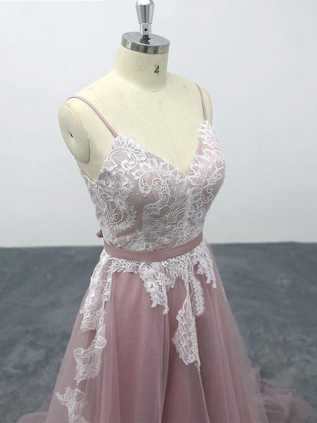 Pink Tulle V-Neck Spaghetti Straps Bridal Gown, Floor-Length A-line Wedding Party Dress Formal Dress