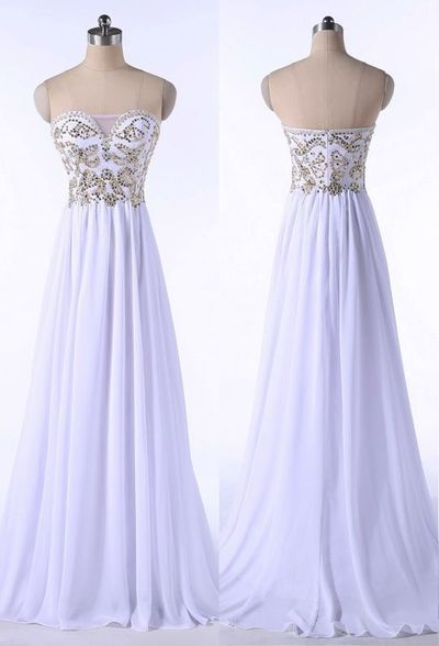 Beautiful White Beaded Sweetheart Long Prom Dress 2019, Cute Formal Dresses 2019
