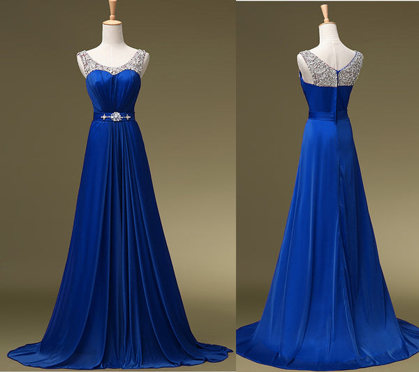 Charming Blue Sequins Round Neckline Bridesmaid Dress, A-line Long Prom Dress