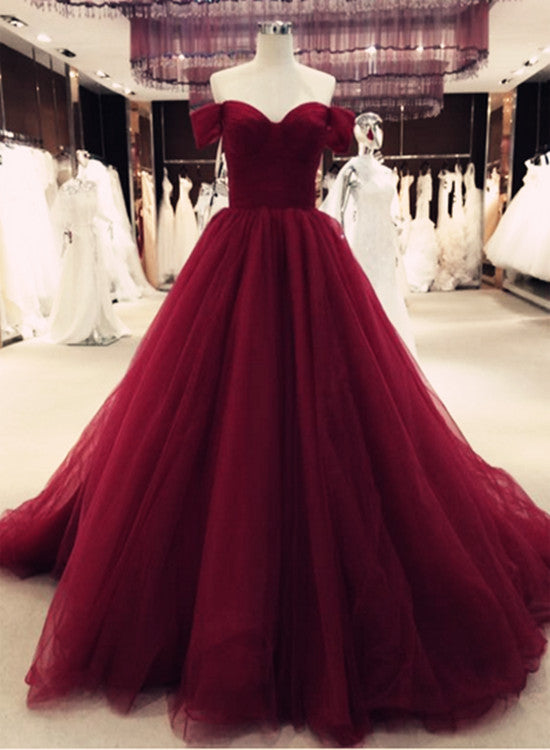 Gorgeous Burgundy Tulle Gown, Off Shoulder Sweetheart Princess Prom ...