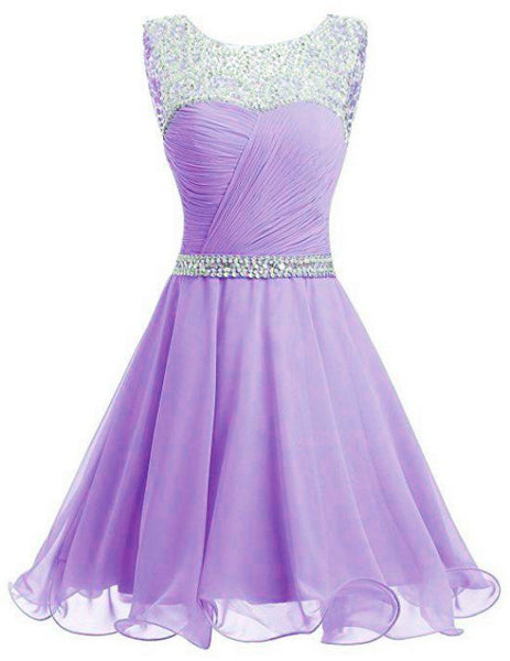 Lavender Chiffon Short Sequins and Beaded Short Party Dress, Chiffon Formal Dress, Homecoming Dresses