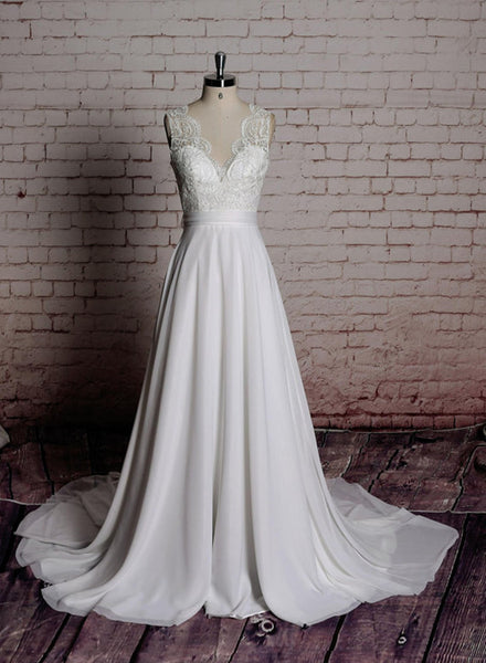 Simple Ivory Chiffon Long Wedding Dress with Train, Wedding Party Dresses, Bridal Gown