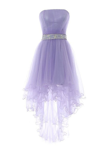 Cute Light Purple Tulle High Low Formal Dress 2019, Prom Dresses 2019, Homecoming Dresses