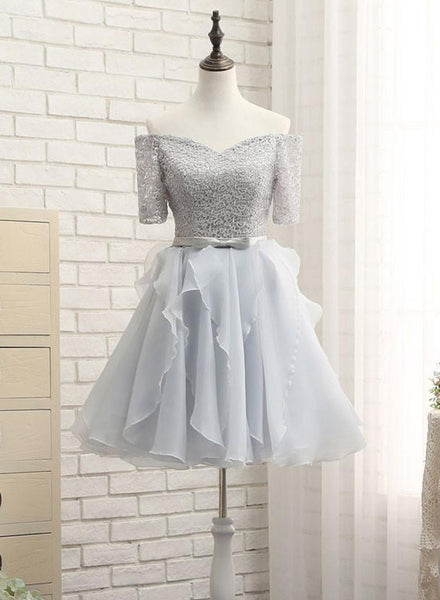 Grey Lace and Organza Homecoming Dresses, Lovely Homecoming Dresses 2019, Short Prom Dress